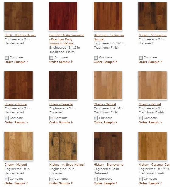 Hardwood Flooring Wood Samples